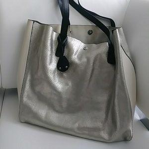 Handbags - Emma & Sophia Soft Leather Silver Tote